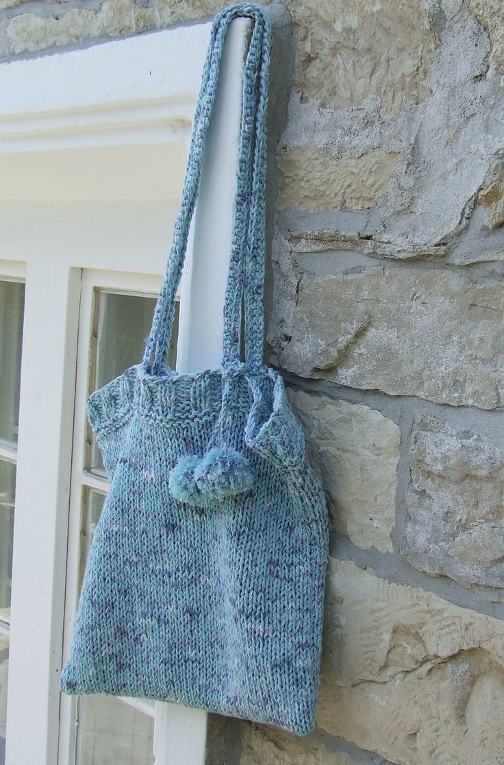 Hand knitted cotton shoulder bag - Cotton knit market bag with pom pom attachment in blue by WoolieBits on Etsy