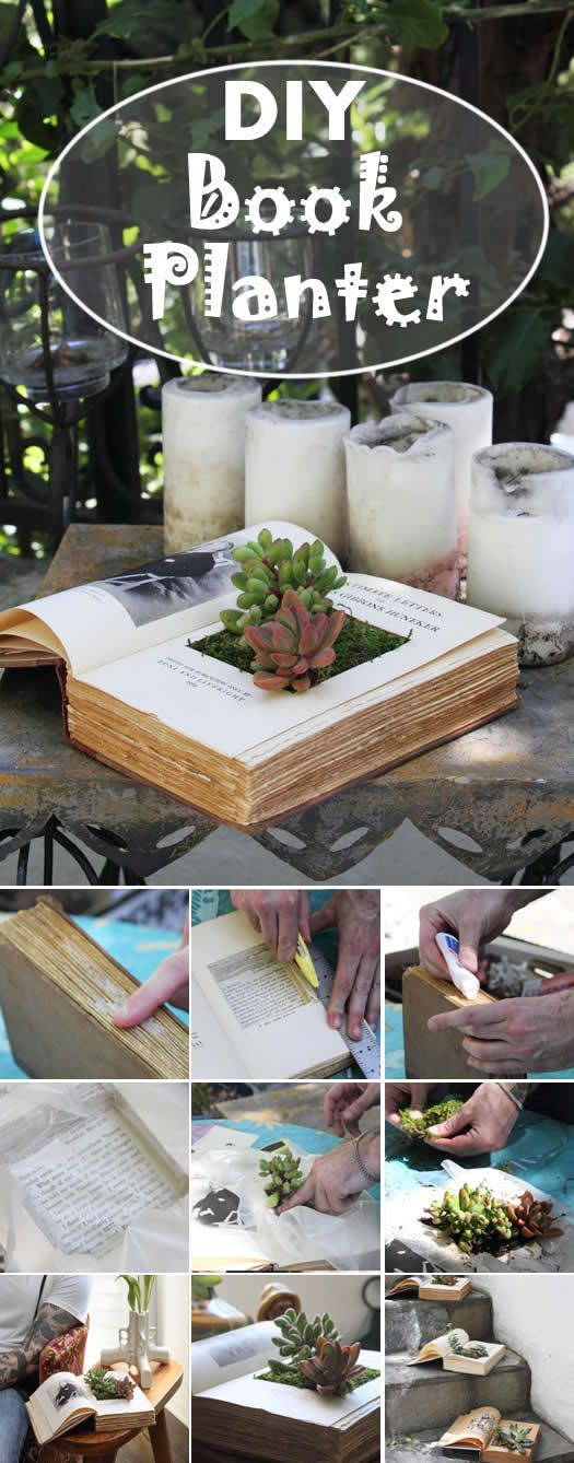 DIY Book Planter..Alice and wonderland theme for a little girls room one day