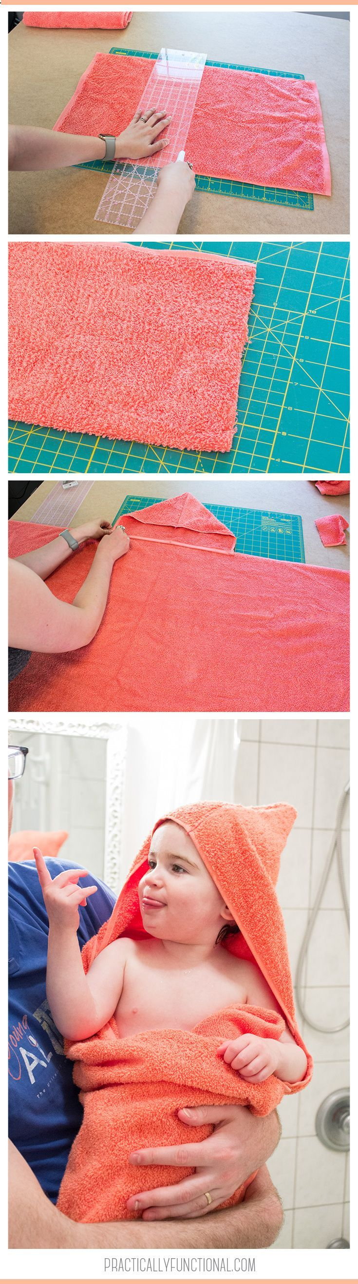 This is the easiest DIY hooded towel tutorial ever! All you need is a bath towel, a hand towel, and to sew 2 straight lines of stitches!