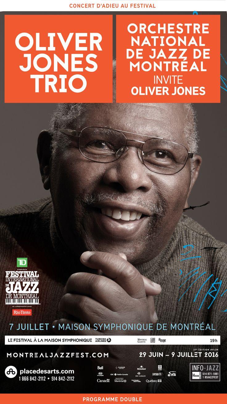 OLIVER JONES TRIO CONCERT D'ADIEU AU FESTIVAL INTERNATIONAL DE JAZZ 7 JUILLET 2016 MAISON SYMPHONIQUE. À l'occasion de ce concert historique, c'est accompagné de son trio puis comme invité de l'Orchestre national de jazz de Montréal qu'Oliver Jones nous tire sa révérence. Avec son charmant sourire, sa technique imparable et son bebop-swing des plus savoureux, ce géant du jazz nous aura laissé entendre tout ce que le piano avait de meilleur à offrir.