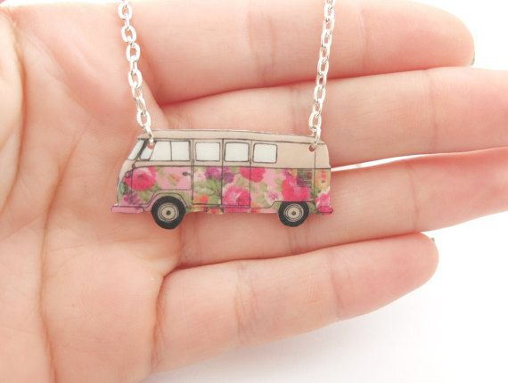 Floral VW campervan necklace in 5 different styles