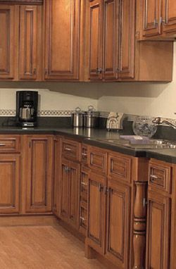 Medium Stained Kitchen Cabinets