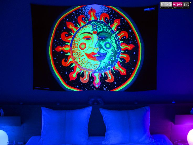 """""""Sun+Moon"""" UV-Blacklight Fluorescent Glow Psychedelic Art Backdrop, £90 in Tripleview Art Shop. #psychedelic #psy #goa #trance #psytrance #goatrance #rave #club #festival #trippy #hippie #esoteric #mystic #spiritual #visionary #symbolism #UV #ultraviolet #blacklight #fluorescent #fluoro #fluo #neon #glow #luminescent #art #backdrop #banner #wallhanging #tapestry #deco #sunandmoon #sunmoon #kiss #yinyang #rainbow #love"""