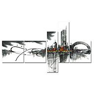 Hand-Painted+Art+Wall+Decor+Black+White+Cityscape+Oil+Painting+on+Canvas++5pcs/set+(Without+Frame)+–+GBP+£+43.67