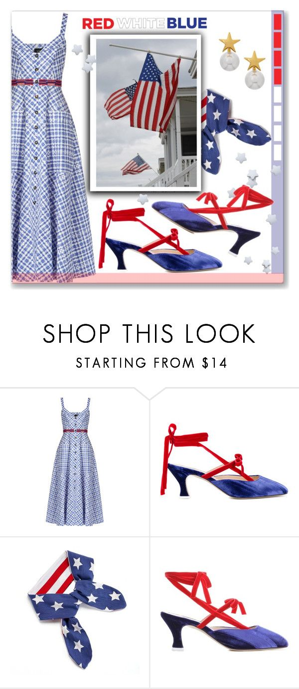 """""""Old Glory"""" by interesting-times ❤ liked on Polyvore featuring Saloni, Attico, Kenneth Jay Lane and fourthofjuly"""