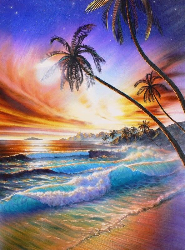 Adrian Chesterman Tropical Sunset Peinture Paysage