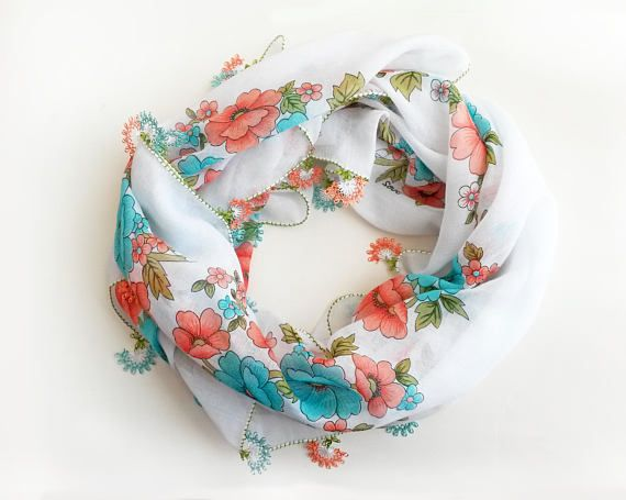 White floral scarf  Boho scarf Christmas gift idea Gift for