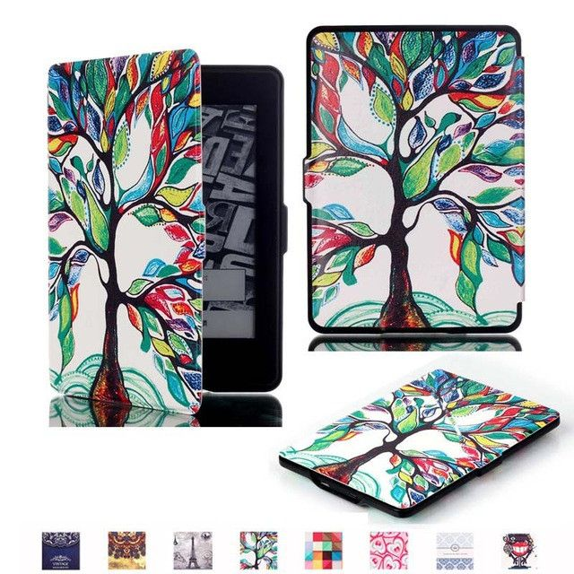 Ultra Thin Slim Magnet Smart Auto Sleep/Wake Print PU Leather Cover Case for Amazon Kindle Paperwhite 1 2 / Paperwhite 3 2015