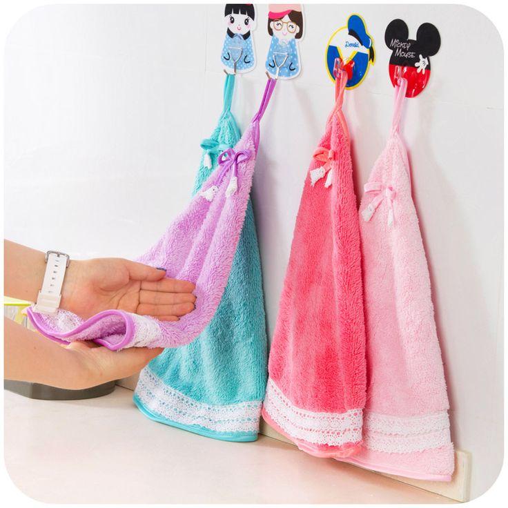 Милый бант кружево вентилятор в форме полотенца для рук, Толстый коралл бархат кухня полотна, Simple и стильный для дома поставки