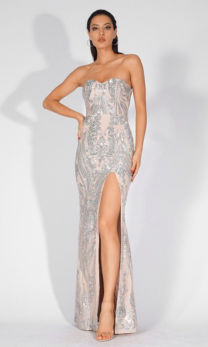 0fc6602b770e Mystic Lover Nude Silver Sequin Geometric Pattern Strapless High Slit –  Indie XO