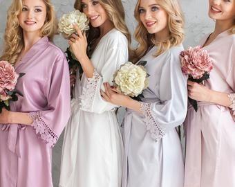 Robas de dama de honor de seda ? Satén Robes de dama de honor Robe Floral ? Robos de fiesta de novias ? Robas de seda ? Robe de novia ? Conjunto de Robes de Dama de Honor ( Bridesmaid Robes Set) Kimono