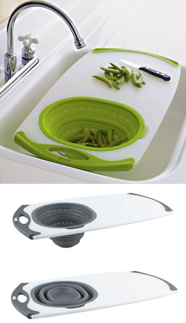 An All-in-One Over-the-Sink Cutting Board | 33 Insanely Clever Things Your Small Apartment Needs.
