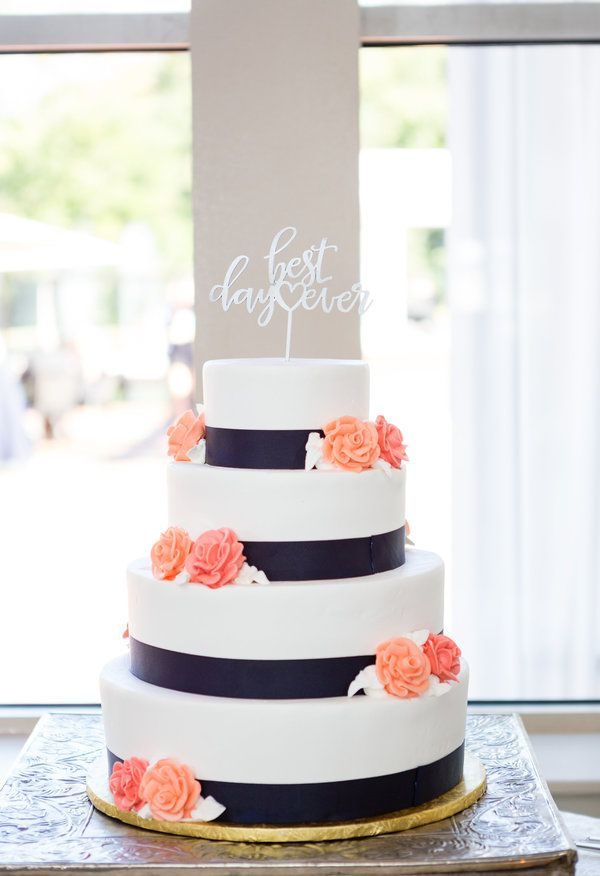 Navy stripes, coral flowers, white cake topper // Tricia LaPonte Photography