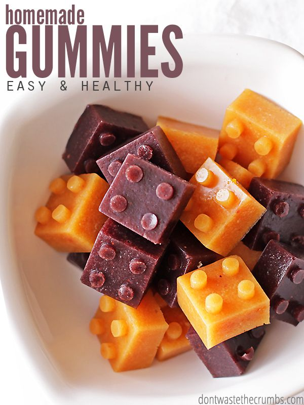 My kids LOVE this easy recipe for healthy homemade gummies! I love that there's no junk and that they're ready in just 15 minutes. They won't melt in a lunchbox and can be made with fruit juice or whole fruit puree - perfect for using up the last little bits of produce to avoid the trash can (and that saves money!) :: DontWastetheCrumbs.com