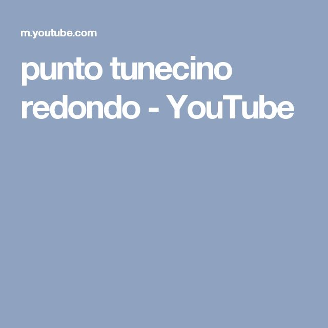 punto tunecino redondo - YouTube
