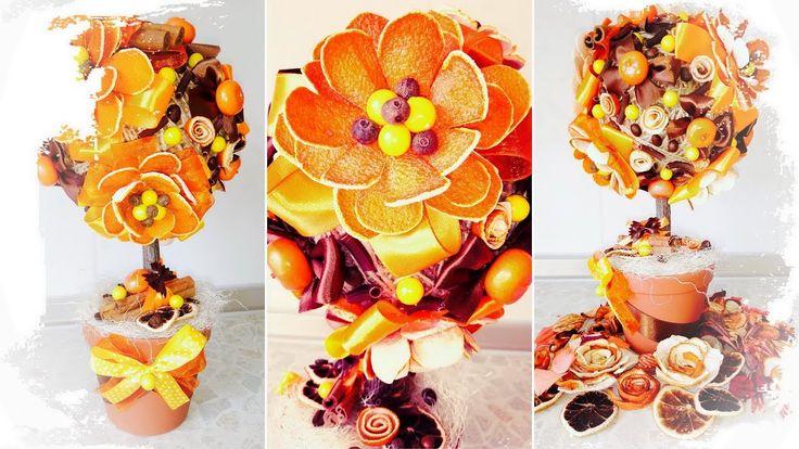Оранжевый топиарий из искусственных цветов из апельсина - видео мастер-класс цветочное дерево счастья от Алены Тихоновой на YouTube | orange flower topiary tree with fruit & sisal - video master class handmade. #топиариитихонова #handmade #decor #рукоделие #топиарий