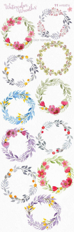 Floral wreath clipart, watercolor clipart, wedding clipart, flower clip art…