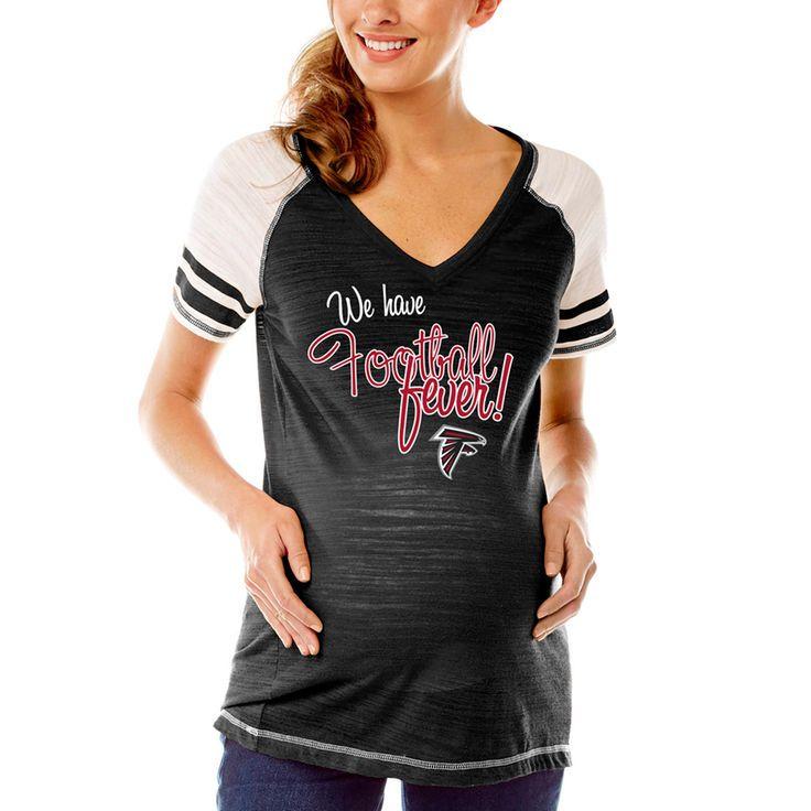 Atlanta Falcons Soft as a Grape Women's Maternity Football Fever V-Neck T-Shirt - Black - $39.99