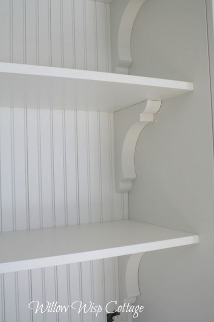 Bead-board and shelving details.