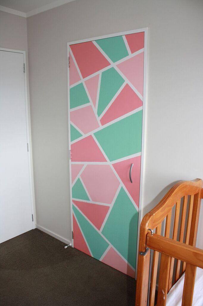Clara's nursery - Wardrobe door masking tape and paint DIY