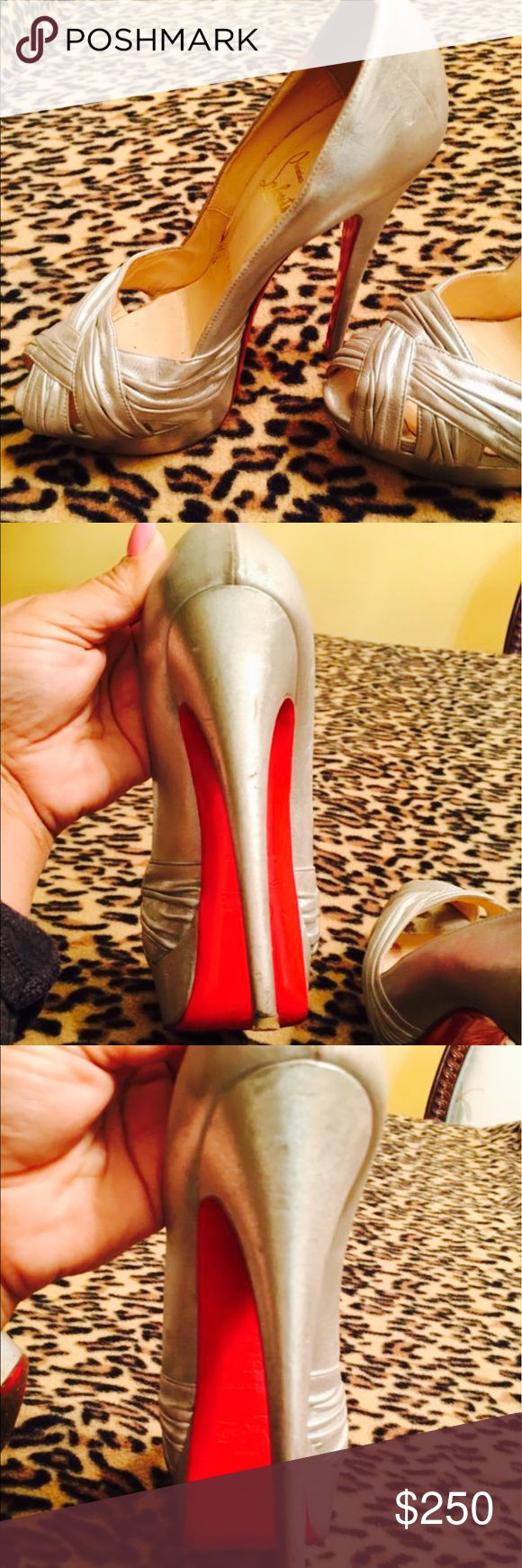 Christian louboutin silver pumps Condition Pre-owned Seller Notes Good condition Few normal scrapes Please refer to the pictures Great shoe! Quantity1 available BrandChristian Louboutin MaterialLeather ColorSilver US Shoe Size (Women's)7 Heel HeightVery High (4.5 in. and Up) Item Description Size 37 Christian Louboutin Shoes Heels