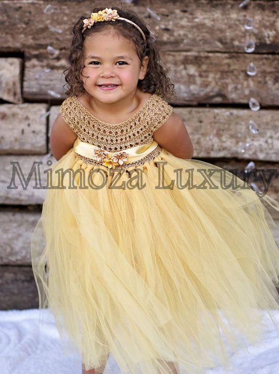 Gold Flower girl dress gold tutu dress gold by MimozaLuxury