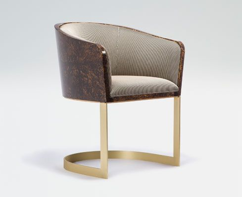 Superb Armani Casa, Armchair, Steel With Brass Finish, Lacquered Wood In Tortoise  Shell Design, 2009