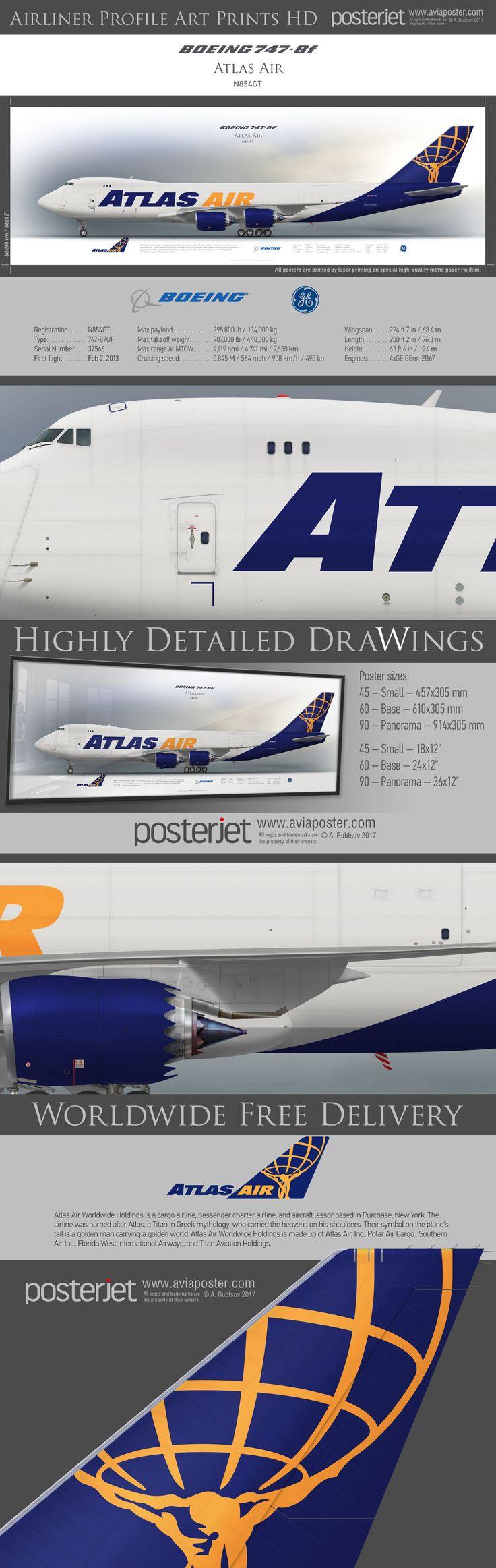 Boeing 747-8f Atlas Air N854GT | www.aviaposter.com | #airliners #aviation #jetliner #airplane #pilot #aviationlovers #avgeek #jet #sideplane #airport #jumbojet