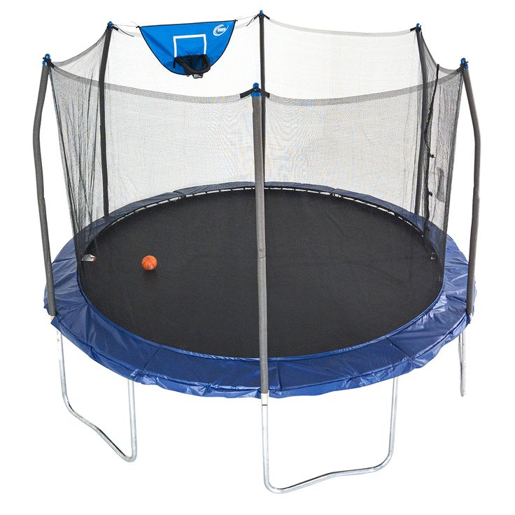 12ft round jump n dunk trampoline with basketball hoop