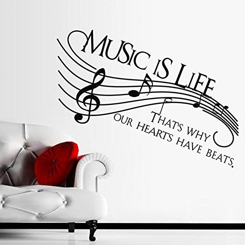 "Dnven (Super Large 51""w X 22""h) Music Is Life That's Why Our Hearts Have Beats Music Notes Decals Stickers Wall Vinyl Art Girl Boy Teen Baby Home Vinyl Wall Decals Quotes Sayings Words Arts Bedrooms Dnven http://smile.amazon.com/dp/B00W8QA5HW/ref=cm_sw_r_pi_dp_uMcVvb0WTYCQT"
