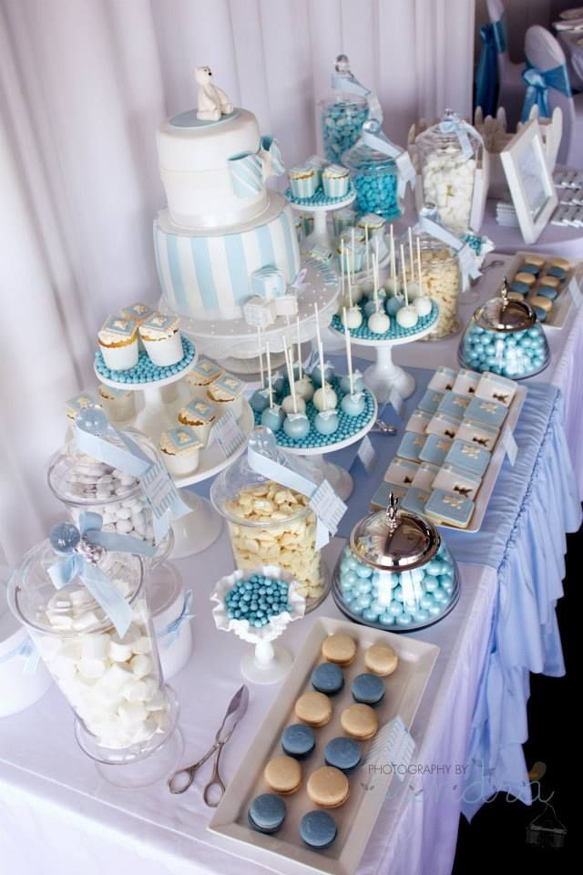 Blue Baby Shower Candy Buffet Part - 33: A Combined Christening And Birthday By A Party Candy Buffet And Party  Supplies