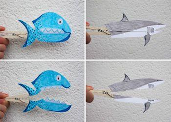 #knutselen-met-papier: wasknijper vis en haai! Leuk voor in de herfstvakantie