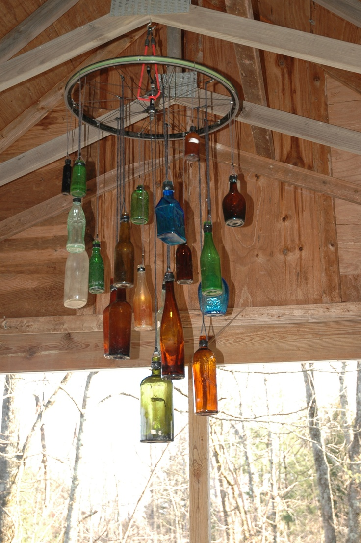 Up-cycled bottles and bike wheel