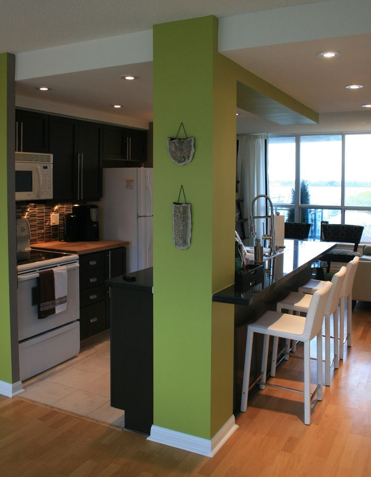 Kitchen ~ Condo Small Galley Kitchen With Island + White Leather Counter  Stools, Perfect Colour