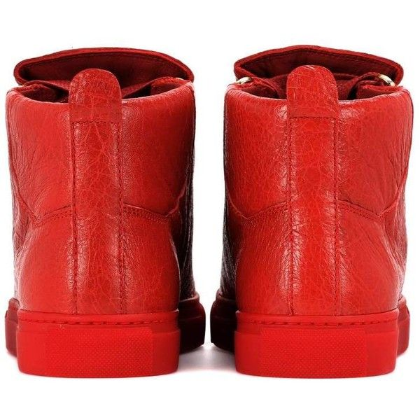 Balenciaga Arena High-Top Leather Sneakers ($555) ❤ liked on Polyvore featuring shoes, sneakers, leather high top sneakers, red trainers, red leather sneakers, high-top sneakers and balenciaga high top