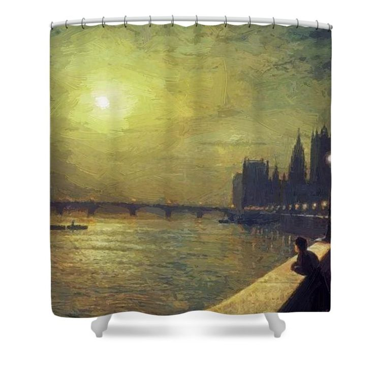 Reflections Shower Curtain featuring the painting Reflections On The Thames Westminster 1880 by Grimshaw John Atkinson