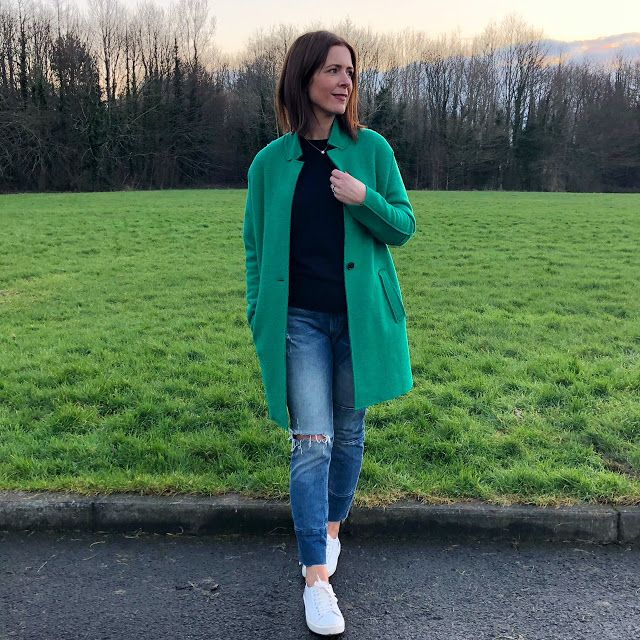 Kelly Green    For the last few years without fail this green coat comes out and it's like my 'spring is coming' coat. Even if it's baltic when I wear it (as it was in this photo) it cheers me up because it's such a fab colour.  Coat - Zara Jeans - H&M Trainers - Seven Boot Lane (all past season - all purchased by me) Navy Cashmere Knit - M&S (gifted - current season)  It's an old Zara number but if you look faithfully on eBay you may snap one up. I actually bought mine in DejaVu about 3…