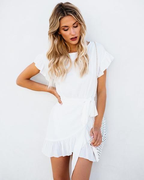 f4c362b796b0 Lovina Ruffle Wrap Dress - Off White | Dresses in 2019 | Dresses ...