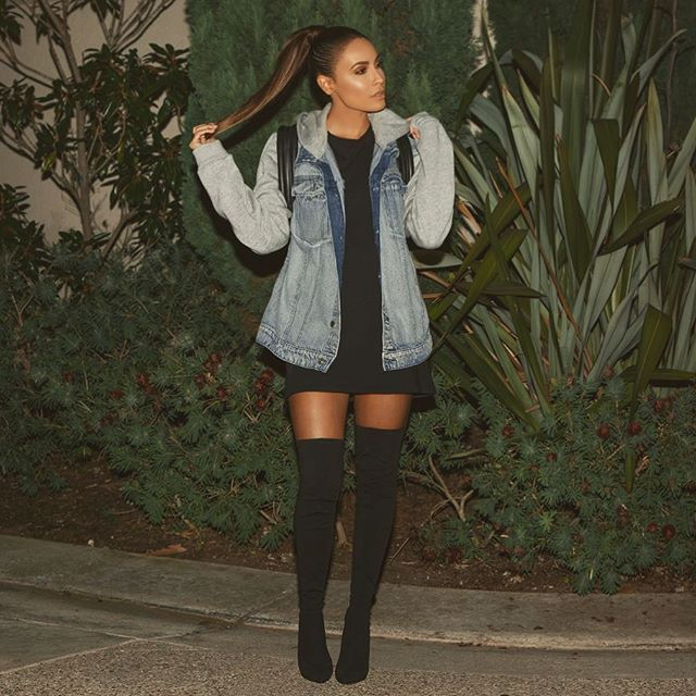 Last night for Jingle ball with @tartecosmetics  Jacket @hm (men's section)  T-shirt dress @forever21  Shoes @windsorstore