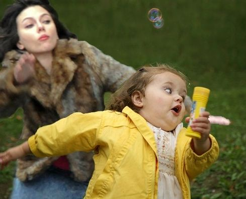 Scarlett Johansson Chasing a little Girl ---- funny pictures hilarious jokes meme humor walmart fails