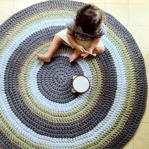 Crochet Rug Round Rug Colorful Rug Children Rug Cotton
