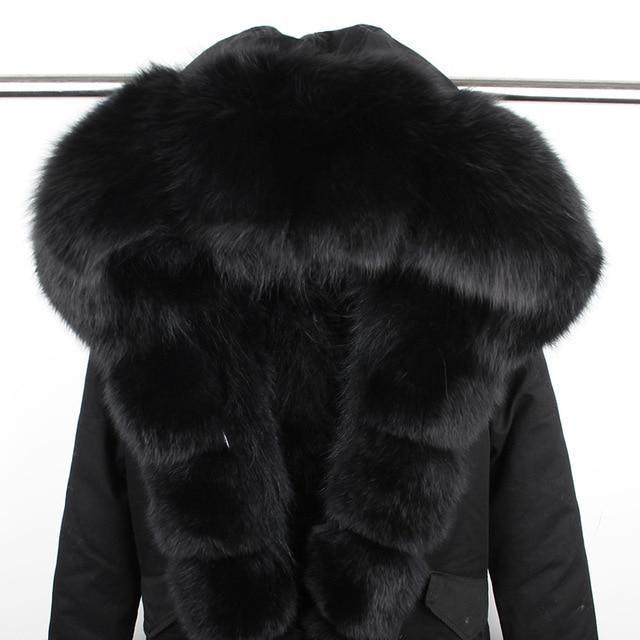 Maomaokong Brand Women's Real Raccoon Fur Parka Natural Fox