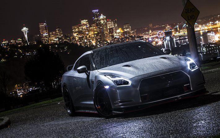 Télécharger fonds d'écran La Nissan GT-R R35 de nuit, supercars, de l'argent GT-R, 2017 voitures, Nissan