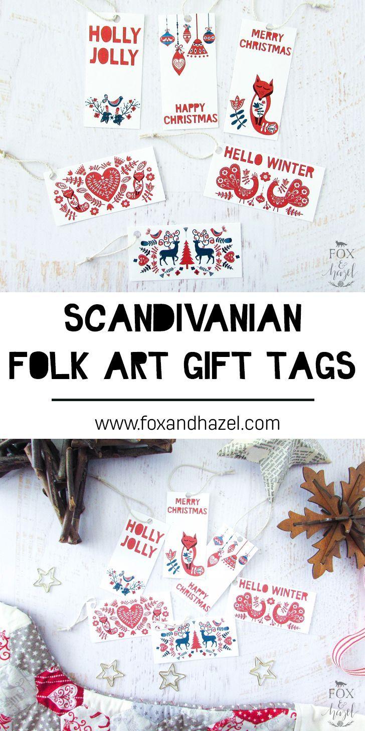 Printable Scandinavian Folk Art Gift Tags