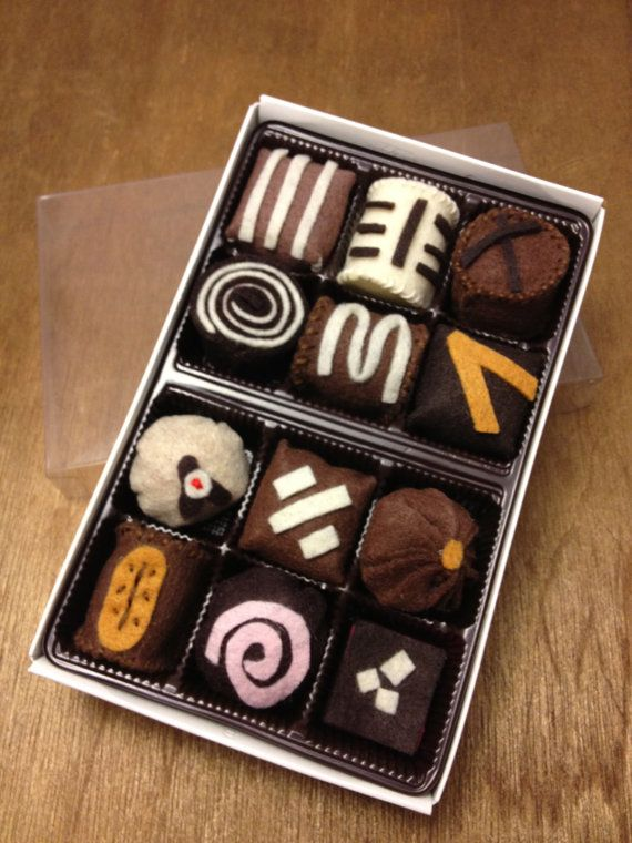 Felt Play Food - Box of Chocolates. $14.00, via Etsy.