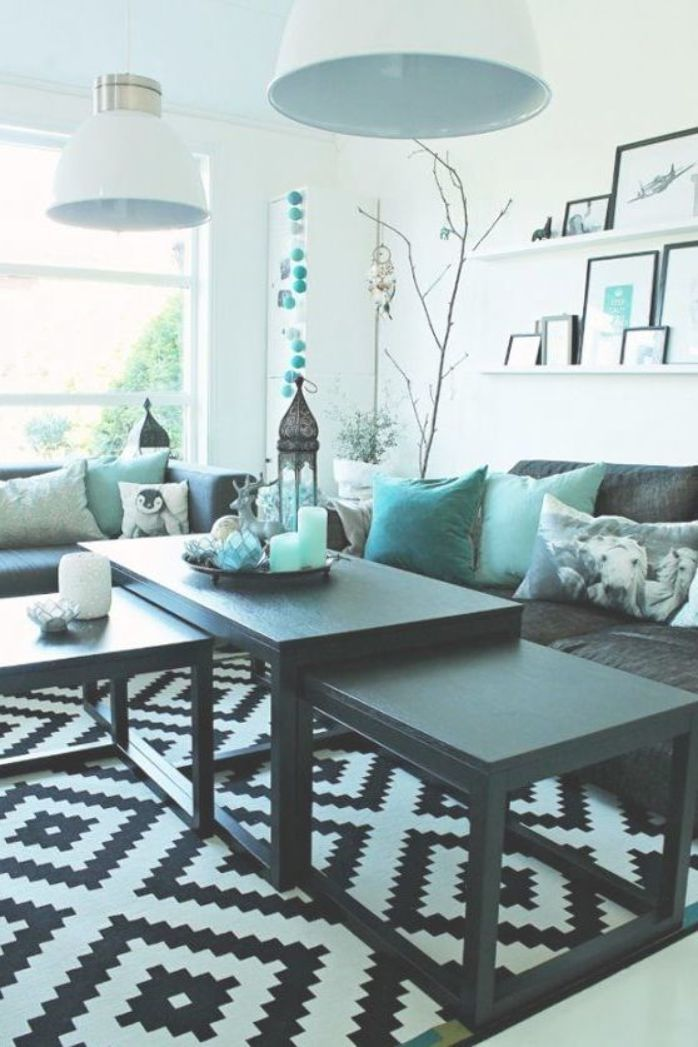 Living Room With Turquoise Accents