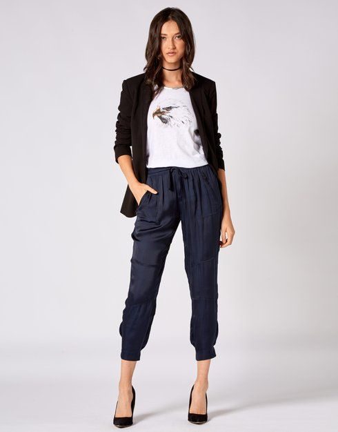 Relaxed Drawstring Pant - Storm Women's Clothing