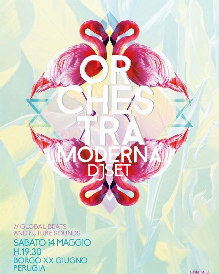 GRAPHIC - FLAMINGO > Flyer for Orchestra moderna dj set. http://chiaraluz.blogspot.it