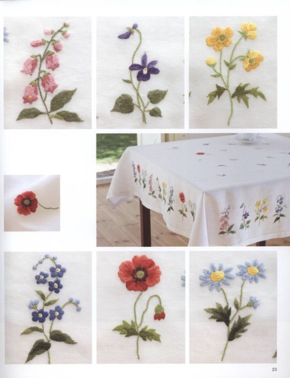 Floral embroidery tablecloth