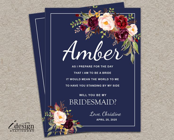 154 best wedding party invitations and thank you cards images on will you be my bridesmaid card diy printable navy fall boho bridal party proposal cards stopboris